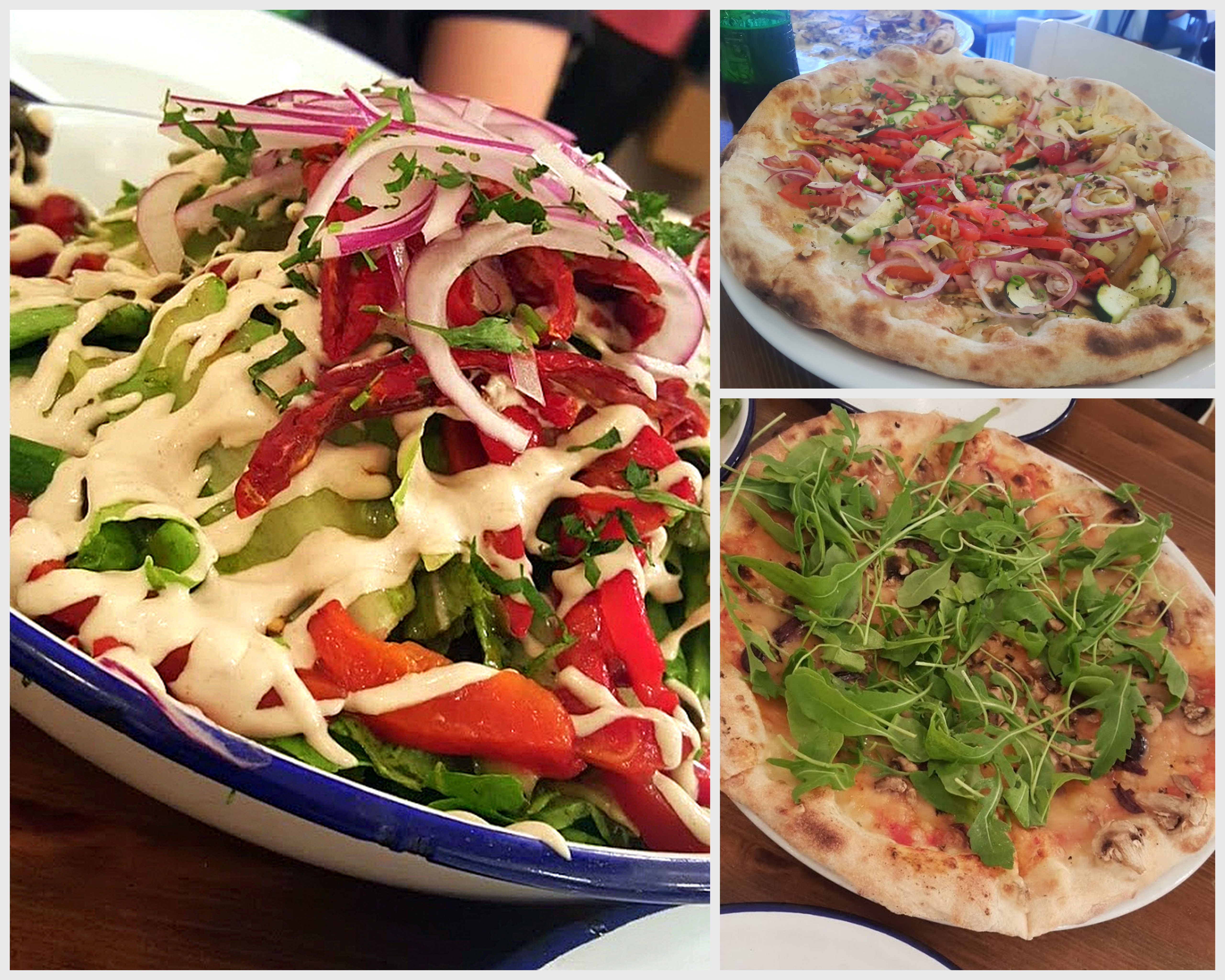 פיצריית הפיצה - יש סלטים שווים, הפיצה הטבעונית פחות טובה לדעתי.